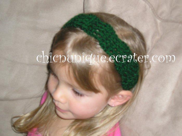 "Crochet *Hunter Green* Headband *compatible for clips* Fits 16""-22"""