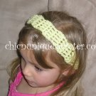 "Crochet *Pale Yellow* Headband *compatible for clips* Fits 16""-22"""