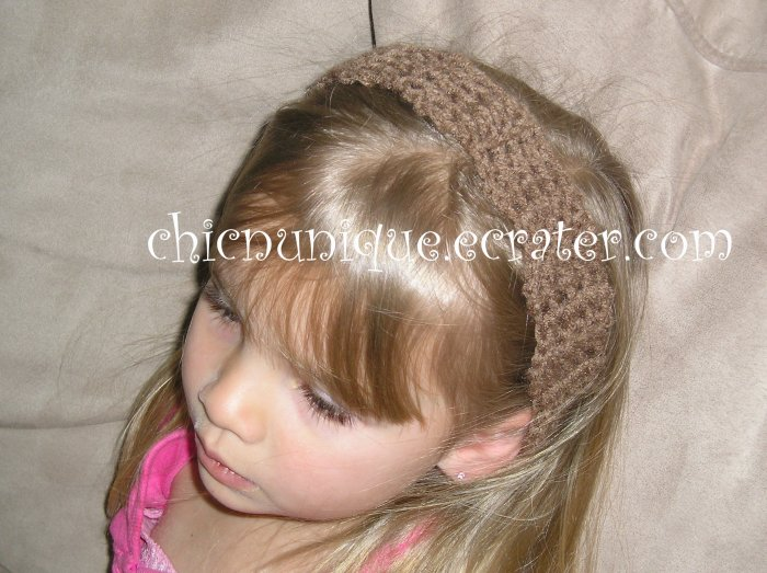 """Crochet *Light Brown* Headband *compatible for clips* Fits 16""""-22"""""""