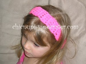 """Crochet *Neon Hot Pink* Headband *compatible for clips* Fits 16""""-22"""""""