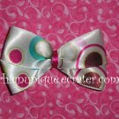 Adorable Boutique Multi-Colored Circles & Bubbles Satin Bow on an alligator clip