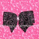 Adorable Boutique *Pink & Black* Heart Bow on an alligator clip