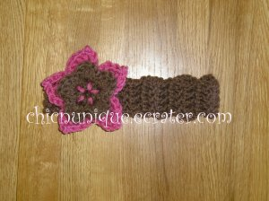 New! Crochet *Light Brown* Headband Set with a Removable Crochet Flower Clip *FREE SHIPPING*
