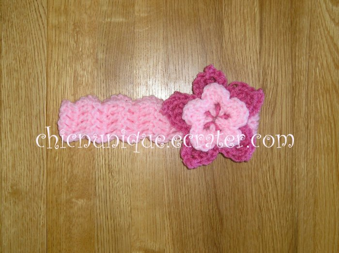 New! Crochet *Light Pink* Headband Set with a Removable Crochet Flower Clip *FREE SHIPPING*