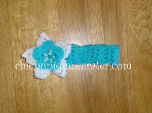 New! Crochet *Turquoise Blue* Headband Set with a Removable Crochet Flower Clip *FREE SHIPPING