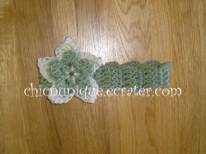 New! Crochet *Sage Green* Headband Set with a Removable Crochet Flower Clip *FREE SHIPPING *