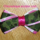 New! Pink & Green Army Camo Camoflauge Bow on Your Choice of Clip