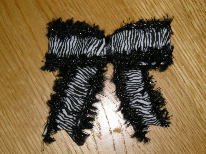 New Boutique Black & White Zebra Print Hair Bow *Your choice of clip*