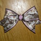 New! Satin Boutique Antique Sephia Brown Toile & Pink & White Polka Dot Hair Bow