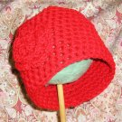 CHRISTMAS RED Baby Crochet Flower Photo Hat Beanie *Any Size Available*