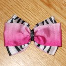 "New! Hot Pink & Zebra Print 3.5"" Hair Bow"