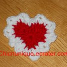 Fancy Beautiful Lace Like Red & White Valentine Heart Hair Clip