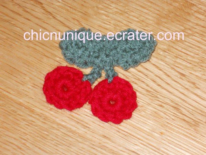 New! Adorable Crochet Double Cherry Cherries Hair Clip
