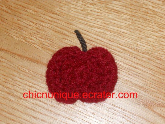Mini Crochet Red Apple Hair Clip