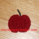 Mini Crochet Red Apple Hair Clip