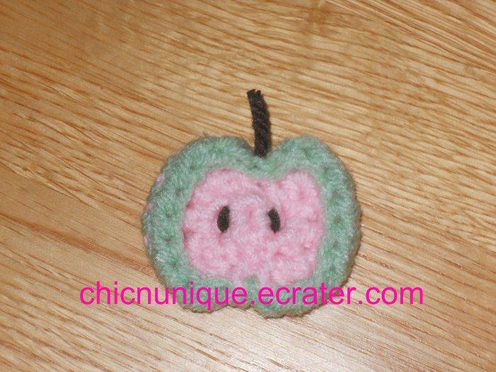 Mini Crochet Pink & Green Apple Chip Slice Hair Clip