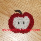 Mini Crochet Red & Cream Apple Chip Slice Hair Clip