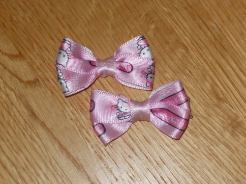 Adorable Pink Hello Kitty Satin Hair Bows Set of 2