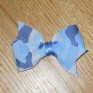 Precious Baby Blue Camo Camoflauge Pinwheel Hair Bow