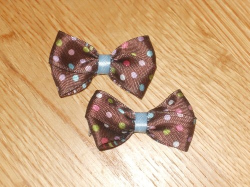 Brown Hair Bow With Polka Dots Set of 2