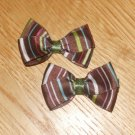 Brown Hair Bow With Stripes Set of 2