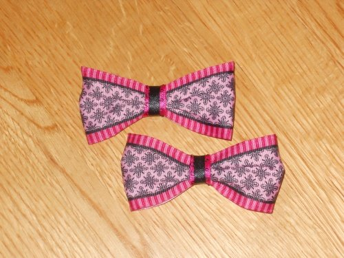 Pink & Black Boutique Hair Bow Set of 2