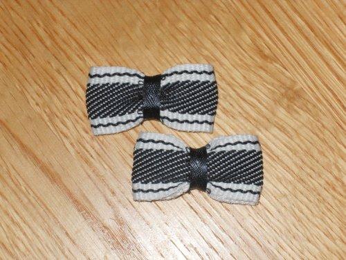 Mini Black & White Striped Hair Bows on Snap Clip