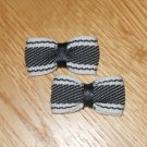 Mini Black & White Striped Hair Bows on Snap Clip