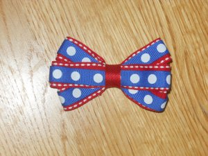 """Boutique 4th of July 3"""" Hair Bow *Red White Blue Polka Dots*"""