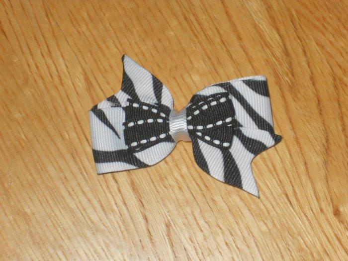 Black & White Zebra Boutique Pin Wheel Hair Bow