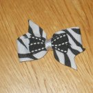 Black & White Zebra Boutique Pin Wheel Hair Bow