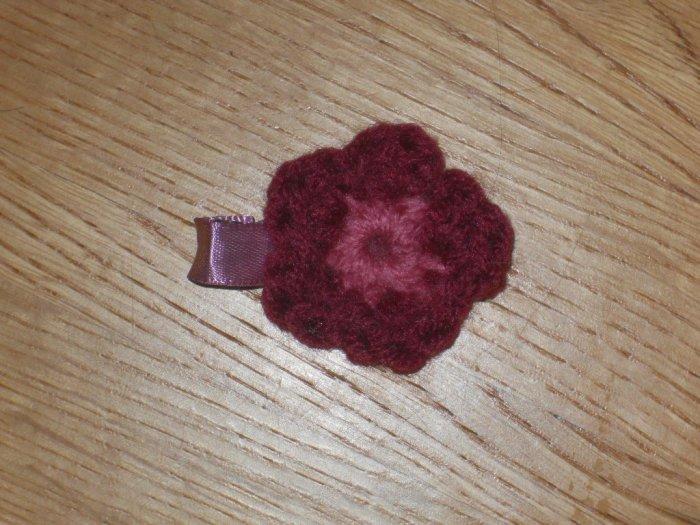 Mini Crochet Flower *Burgundy & Pink*