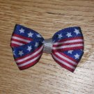 Mini Satin American Flag 4th of July Hair Bow Clip