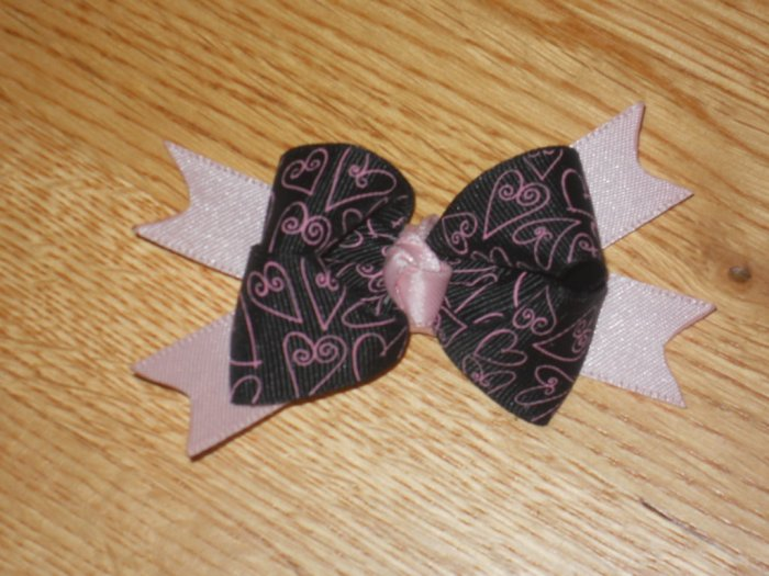 Black & Pink Love Heart Boutique Hair Bow
