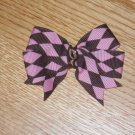 Brown & Pink Argyle *Knot Center* Hair Bow