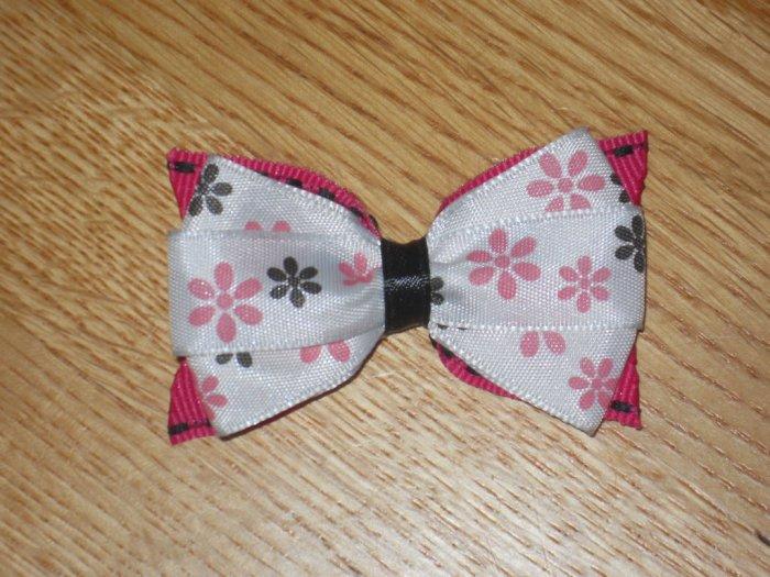 Black & Hot Pink Flower Hair Bow Clip