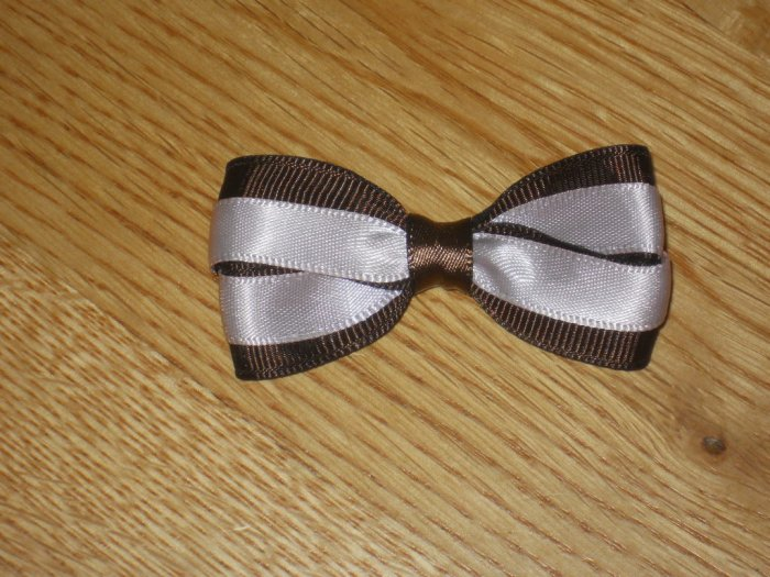 Brown & Baby Pink Satin Hair Bow Clip