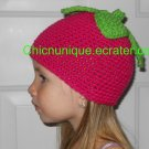 NEW! Boutique Hot Pink Crochet Strawberry Berry Hat *Any Size Available*