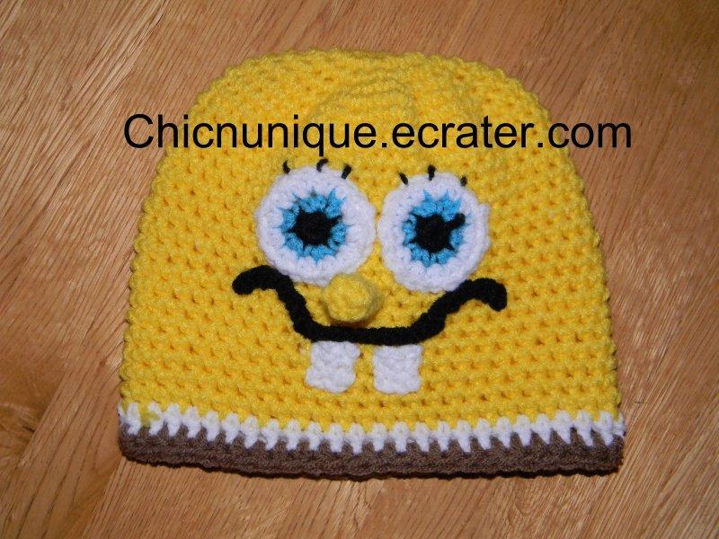 Boy's Spongebob Squarepants Crochet Hat W/ Trim*Any Size Available*