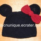 Minnie Mouse Crochet Hat With Bow *Any Size Available*