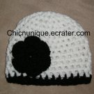 **Tuxedo** White & Black Boutique Crochet Hat With Triple Flower *Any Size Available*