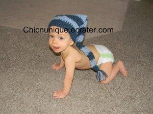 Boutique Infant Photo Prop Crochet Stocking Elf Hat Cap