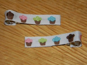 New!!  Set of Cupcake Hair Clips!