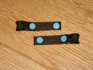 New!  Set of Brown with Blue Polka Dot Hair Clips