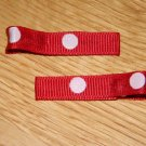 New!!  Set of Red With Pink Polka Dot Hair Clips
