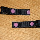 New!!  Set of Black With Pink Polka Dot Hair Clips