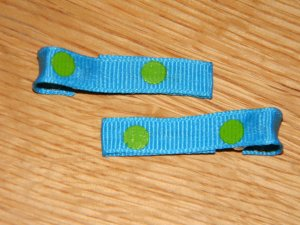New!!  Set of Blue With Green Polka Dot Hair Clips