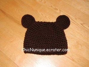 Handmade Crochet Custom Brown Bear Hat ***Newborn-12 Month Sizes***