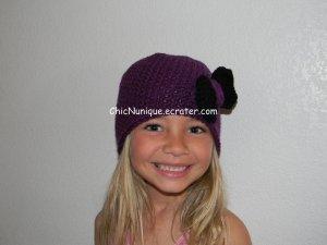 Adorable Custom Handmade Purple Chic Crochet Bow Hat *Any Size Available*