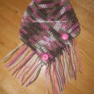 Hickey Hider Hooded Cowl/Neckwarmer/Hankie Scarf With Fringe & Buttons *Pink Camoflauge*Child-Adult